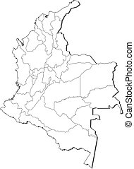 Map - Colombia - Map of Colombia, contous as a black line