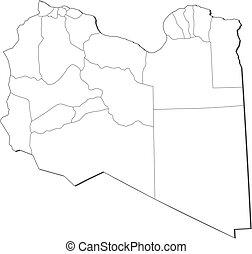 Map - Libya - Map of Libya, contous as a black line