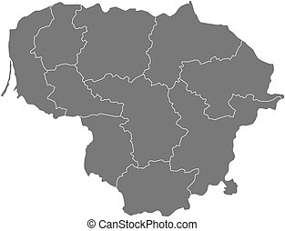 Map - Lithuania - Map of Lithuania as a dark area.