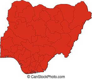 Map - Nigeria - Map of Nigeria with the provinces, colored...