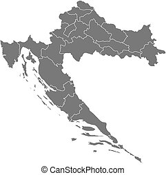 Map - Croatia - Map of Croatia as a dark area.
