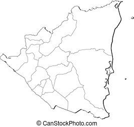 Map - Nicaragua - Map of Nicaragua, contous as a black line