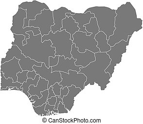Map - Nigeria - Map of Nigeria as a dark area.