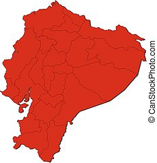 Map - Ecuador - Map of Ecuador with the provinces, colored...