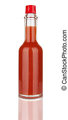 hot sauce - Bottle of spicy, red hot sauce isolated on white...