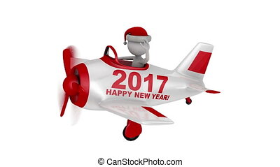 Santa in plane Happy New Year 2017 - Santa waves his hand in...