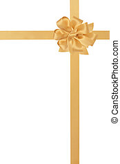 Gold Ribbon and Bow - Gold satin ribbon with bow isolated...