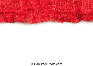 Gauze with blood on white background