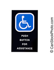handicapped assistance sign isolated - assistance sign for...