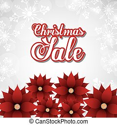 Sale and red flowers icon. Merry Christmas design. Vector...