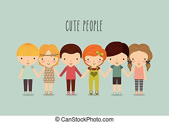 Boys and girls icon. Kid and cute people design. Vector graphic