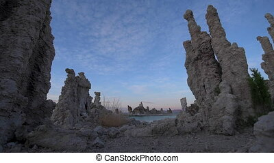 Mono Lake Sunrise dolly shot - Calcium Carbonate limestone...