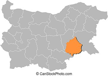 Map - Bulgaria, Yambol - Map of Bulgaria with the provinces,...