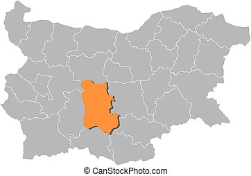 Map - Bulgaria, Plovdiv - Map of Bulgaria with the...