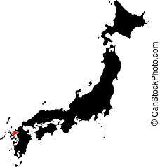 Map - Japan, Saga - Map of Japan in black, Saga is...