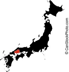 Map - Japan, Hiroshima - Map of Japan in black, Hiroshima is...