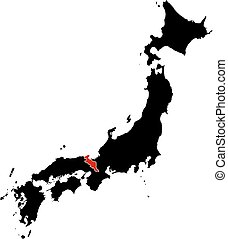 Map - Japan, Kyoto - Map of Japan in black, Kyoto is...