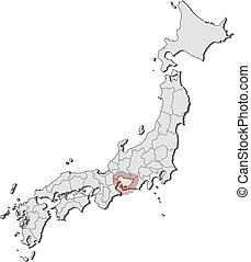 Map - Japan, Aichi - Map of Japan with the provinces, Aichi...