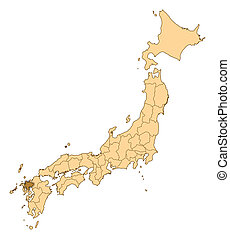 Map - Japan, Saga - Map of Japan with the provinces, Saga is...