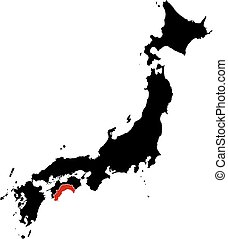 Map - Japan, Kochi - Map of Japan in black, Kochi is...