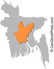 Map - Bangladesh, Dhaka - Map of Bangladesh with the...