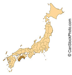 Map - Japan, Kochi - Map of Japan with the provinces, Kochi...