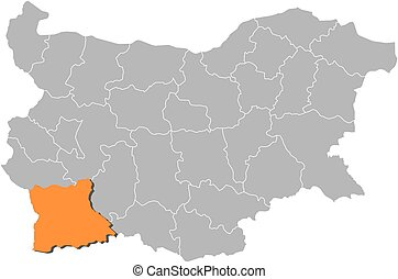 Map - Bulgaria, Blagoevgrad - Map of Bulgaria with the...