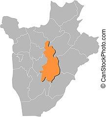 Map - Burundi, Gitega - Map of Burundi with the provinces,...