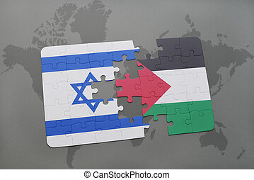 puzzle with the national flag of israel and palestine on a...