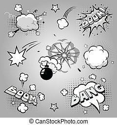 Set of comics boom, illustration - Set of comics cartoon...