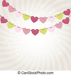 Party Background with Heart Shaped Flags Vector Illustration