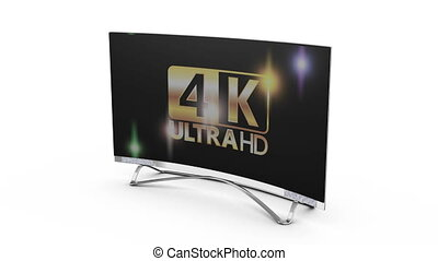 Modern 8k TV on a white background, 3d render