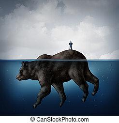 Hidden Bear Market - Hidden bear market financial concept as...