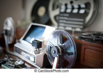 Movie editing vintage desktop detail