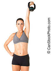 Woman Working Out With a Kettlebell