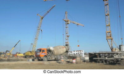 Delivery of concrete on building site using truck