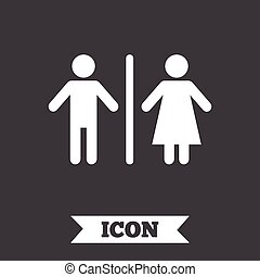 WC sign icon. Toilet symbol. Male and Female toilet. Graphic...