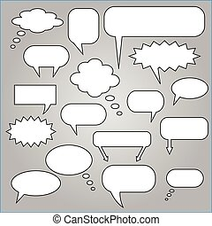Chat Bubbles - Comic speech chat bubbles on a gray...
