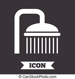Shower sign icon Douche with water drops symbol Graphic...