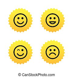Smile icons. Happy, sad and wink faces.