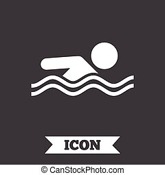 Swimming sign icon Pool swim symbol Sea wave Graphic design...