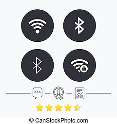 Wifi and Bluetooth icon Wireless mobile network - Wifi and...