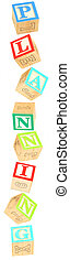 Alphabet Blocks planning - Colorful alphabet blocks spelling...