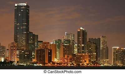Time lapse Miami at night - Time lapse movie Miami skyline...