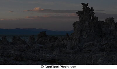 Mono Lake Sunrise slow pan - Calcium Carbonate limestone...