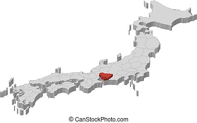 Map - Japan, Aichi - 3D-Illustration - Map of Japan as a...