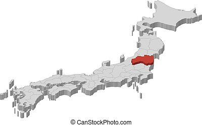 Map - Japan, Fukushima - 3D-Illustration - Map of Japan as a...
