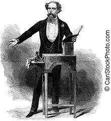 Charles Dickens - Author Charles Dickens stood at desk with...