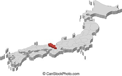 Map - Japan, Kyoto - 3D-Illustration - Map of Japan as a...