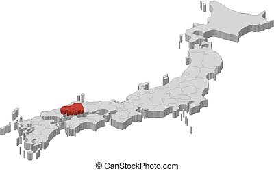 Map - Japan, Hiroshima - 3D-Illustration - Map of Japan as a...